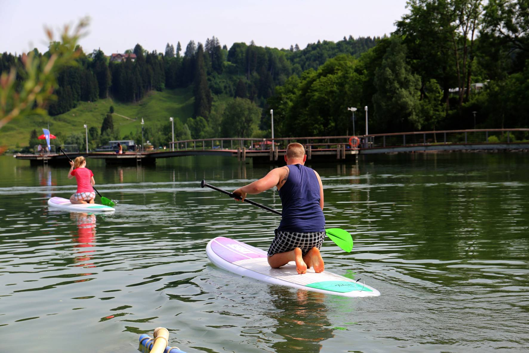 Stand Up Paddling am Großen Alpsee